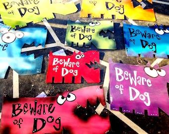 Beware of Dog Signs, Custom Colors: Metal Dog Signs, Yard Art