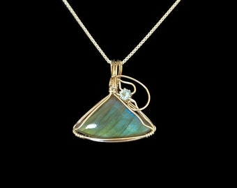 turquoise Labradorite Wolf Argentium Sterling Necklace Recycled Sterling Silver Ready To Ship In The Next 9 Days Swiss Blue Topaz