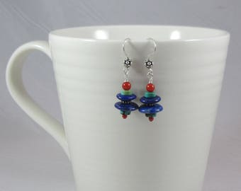 Dramatic Blues Lapis, Red Coral, Turquoise and Bali Sterling Earrings