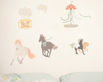 ON SALE Fabric Wall Decal - Pretty Horses (reusable) No PVC