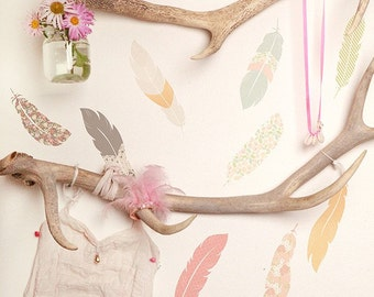 Fabric Wall Decal - Floating Feathers (reusable) NO PVC