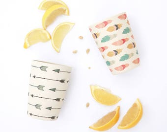 Bamboo Tumbler Set - Arrows and Feathers