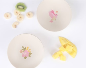 Bamboo 4pk Bowls - Birds and Flowers