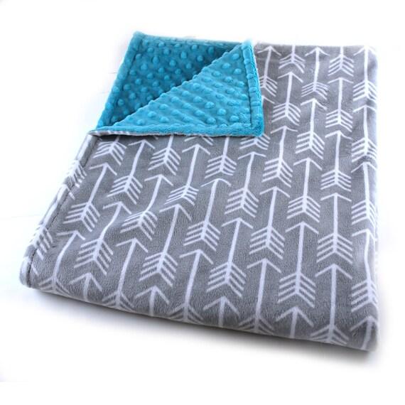 Gray Arrow Throw, Minky Adult Blanket, Personalized Blanket, Teal Throw Blanket, Gray Arrow Blanket, Minky Throw Blanket, Twin Bedding