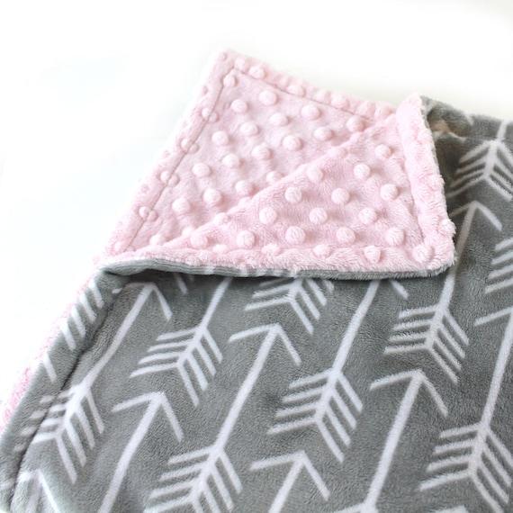 Personalized Baby Blanket Mini Baby Blanket Girl - Baby Lovey Gray Arrow Minky Baby Blanket  Arrow Baby Blanket, Minky Burp Cloth Baby Gift