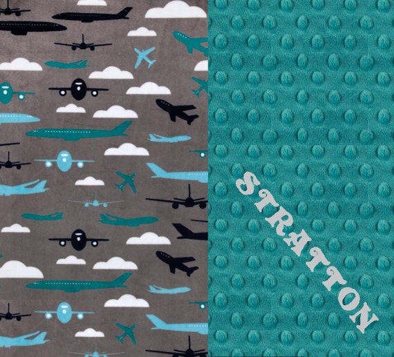 Personalized Baby Blanket / Minky Baby Blanket Boy, Teal Gray Airplane Baby Blanket / Plane Baby Blanket / Monogrammed Blanket / Baby Gift