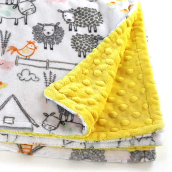 Newborn Baby Lovey, Personalized Baby Blanket Boy Girl, Farm Blanket, Yellow Minky Blanket, Gray Animal Blanket, Name Baby Blanket, Kids