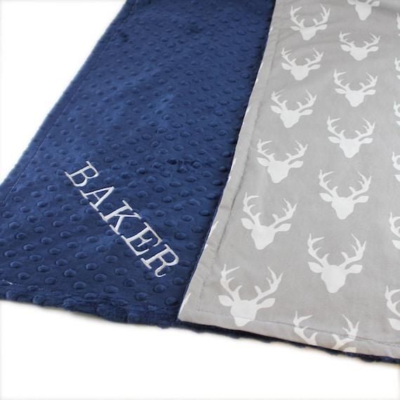 Personalized Blanket Baby Boy, Deer Baby Blanket Cotton, Baby Shower Gift, Minky Baby Blanket, Monogrammed Blanket, Name Blanket, Baby Gift
