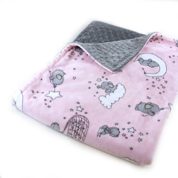 Pink Elephant Baby Blanket, Personalized Blanket Minky Baby Blanket, Receiving Blanket, Baby Shower Gift, Name Blanket, Kids Minky Blanket