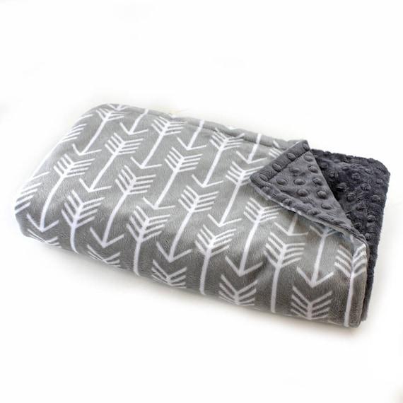 Monogrammed Blanket, Personalized baby blanket, Minky Baby Blanket Boy, Gray Arrow Baby Blanket, Custom Baby Gift, Receiving Blanket