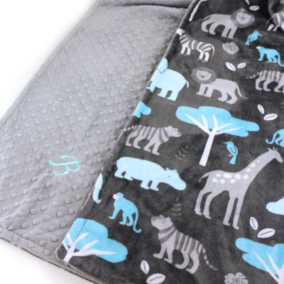 Animal Minky Blanket  Toddler Blanket, Blue Gray Personalized Blanket, Minky Throw Blanket, Zoo Animals Blanket, Kids Minky Blanket