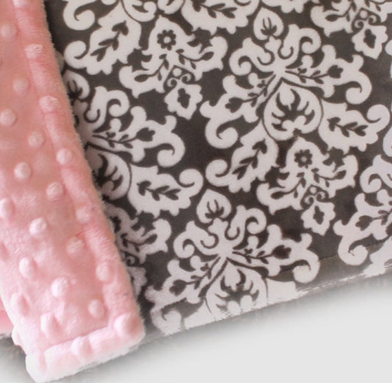 Personalized Blanket Mini- Pink Gray Damask Blanket - Girl Lovey Blanket, Mini Baby Blanket Girl, Minky Blanket / Baby Gift