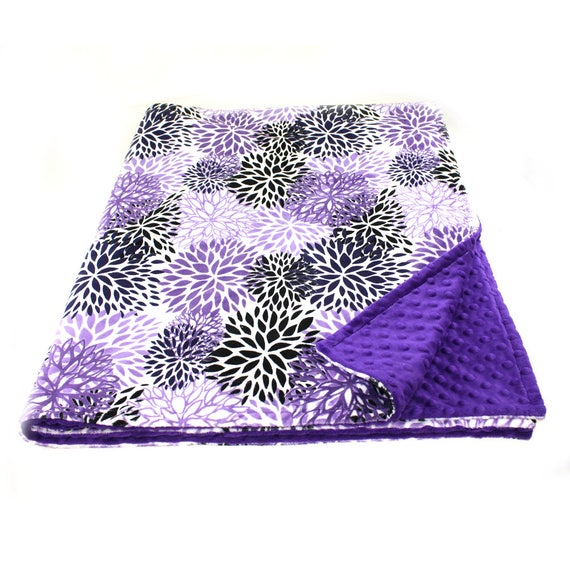 Adult Minky Blanket / 60 x 70 Bloom Purple Flower Blanket / Purple Throw // Floral Minky Throw Blanket / Twin Blanket / Personalized Gift