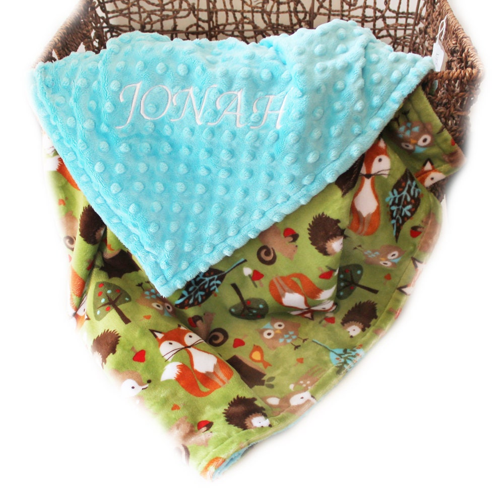 Woodland minky baby blanket boy fox blanket personalized blanket sewing dreams notions negle Images