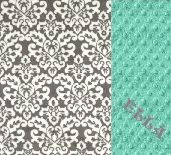 Minky Baby Blanket, Mint Gray Personalized Baby Blanket, Nursery Decor Girl, Name Baby Blanket, Baby Gift, Damask Baby Blanket, Baby Girl