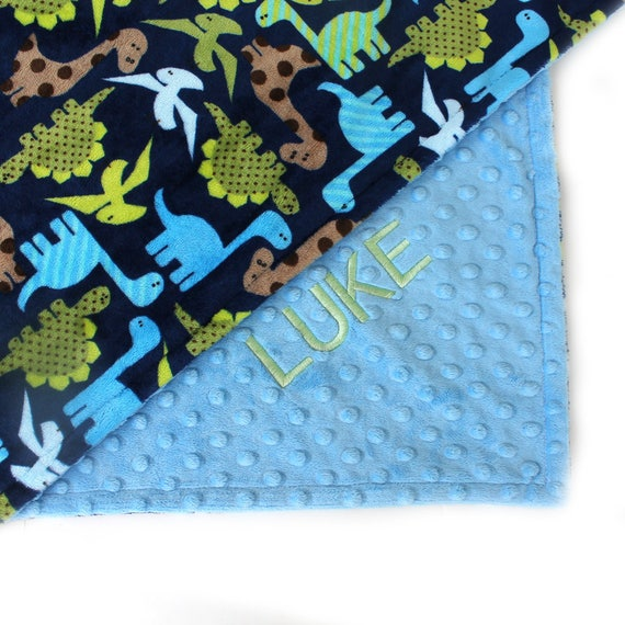 Baby Blanket Personalized, Minky Baby Blanket Boy, Dinosaurs Blanket Boy Blue Green, Baby Boy Blanket, Baby Shower Gift, Kids Minky Blanket