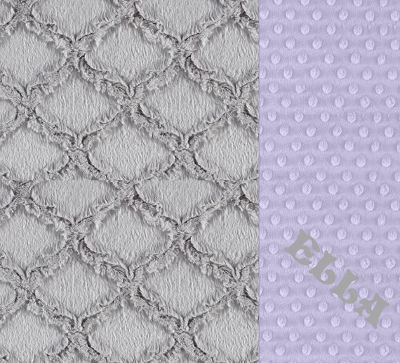 Personalized Baby Blanket, Baby Girl Baby Blanket, Lavender Gray Geometric Blanket, Minky Baby Blanket, Choose Your Own Colors, Baby Gift