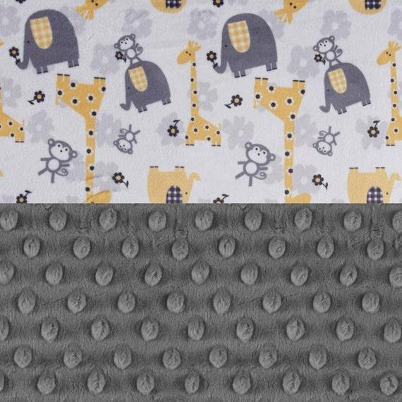 Newborn Baby Lovey / Personalized Baby Blanket Boy Girl - Yellow Minky Blanket / Gray Animal Blanket / Elephant Blanket / Name Baby Blanket