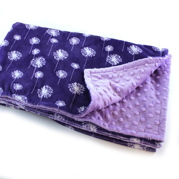Floral Minky Adult Blanket, Personalized Blanket, Dandelions Blanket, Minky Throw, Purple Lilac Throw, Personalized Gift, Gift for Women