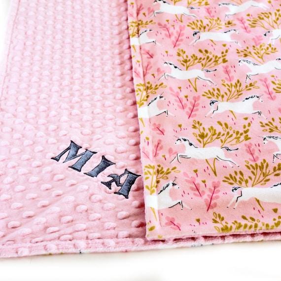 Toddler Blanket, 48 x 60 Gray Minky Blanket, Pink Unicorn Blanket, Personalized Blanket, Kid Minky Blanket, Minky Throw, Pink Blanket