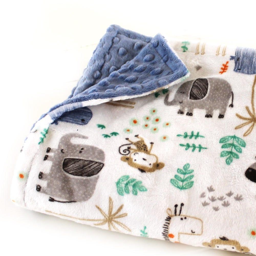 Minky Baby Blanket, Baby Lovey, Blue Gray Zoo Blanket, Mini ...