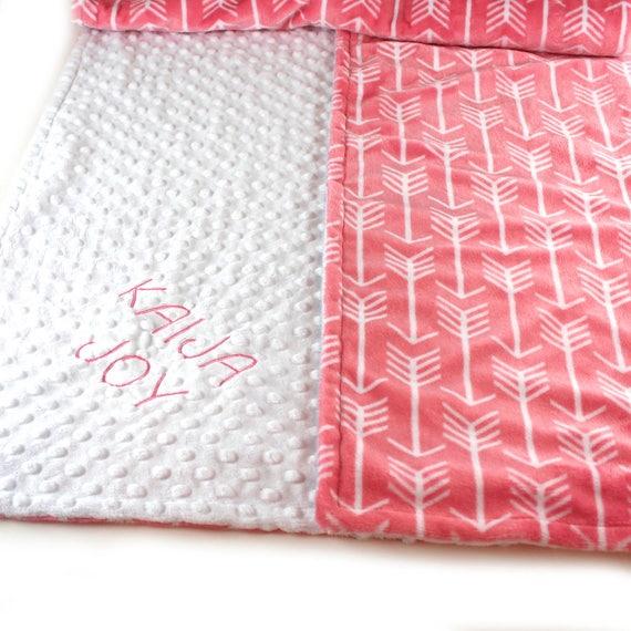 Arrow Blanket, Crib Minky Blanket Girl, 42 x 55 Coral Arrow Personalized Baby Blanket, White Coral Baby Blanket, Custom Blanket, Kids Minky