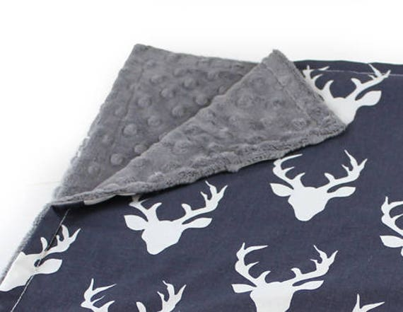 Personalized Baby Mini Deer Baby Minky Blanket Boy Lovey, Navy Blue Gray Cotton, Boy Burp Cloth // Deer Burp Cloth // Security Blanket