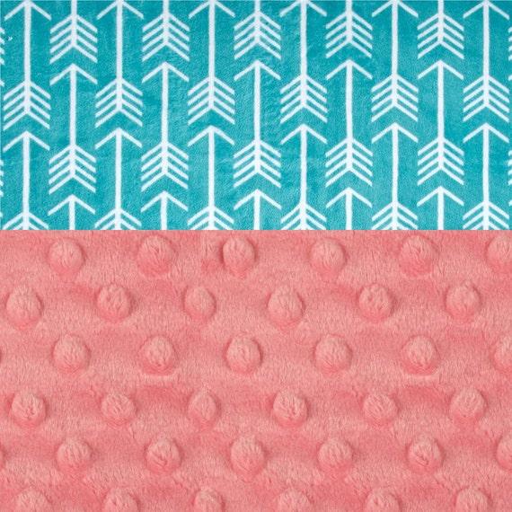 Personalized Baby Blanket, Minky Baby Blanket Girl, Arrow Baby Blanket, Teal Coral Blanket, Receiving Blanket, Nursery Decor, Baby Girl