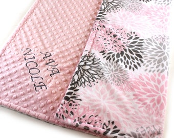 Personalized Baby Blanket, Floral Minky Baby Blanket Girl, Pink Gray Blooms Flowers, Name Blanket / Baby Shower Gift / Baby Girl Blanket