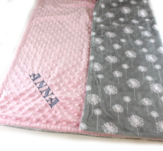 Kids Minky Blanket, 48 x 60 Gray Pink Floral Blanket, Toddler Blanket, Minky Blanket Girl, Personalized Blanket, Dandelion Blanket, Throw