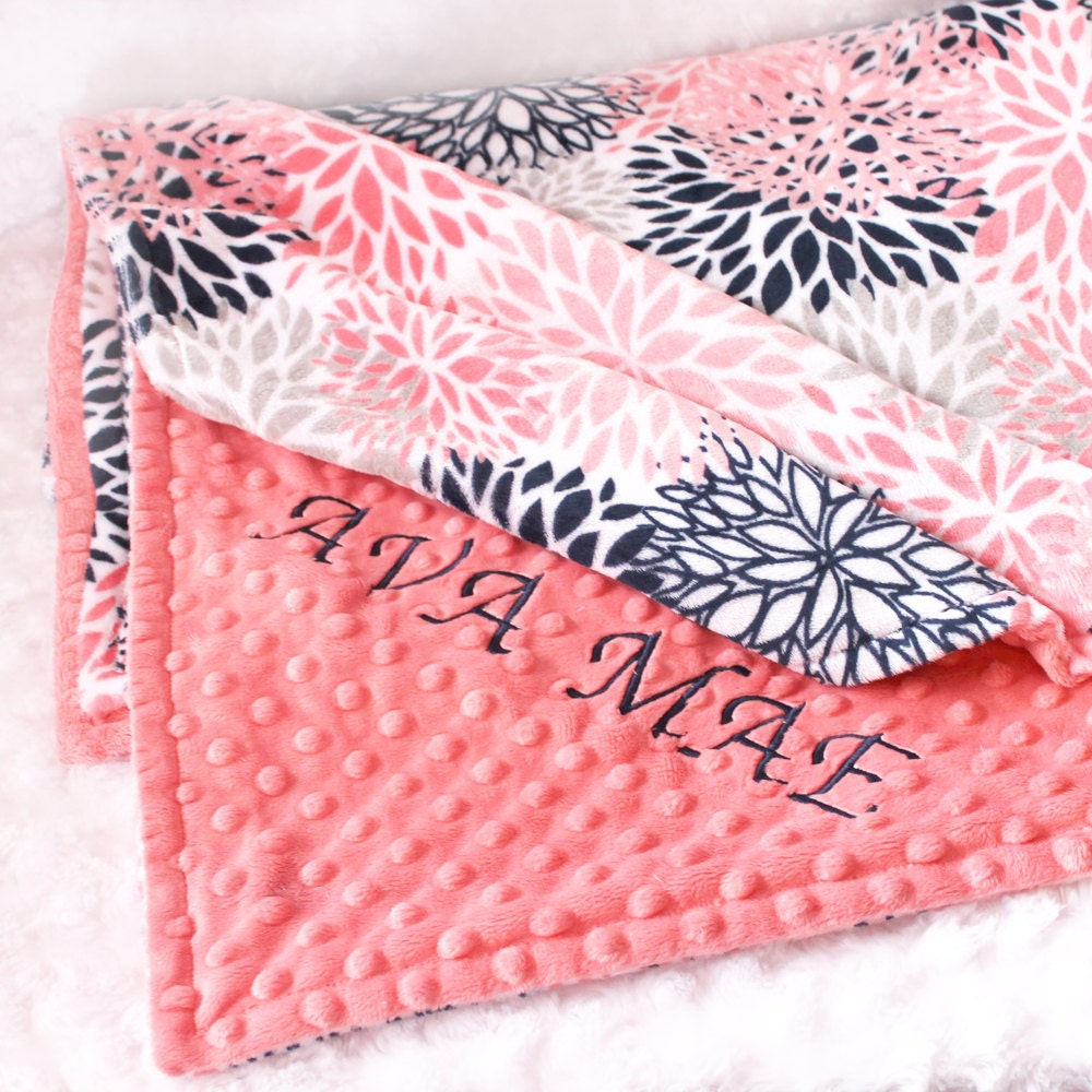 coral personalized blanket 48 x 60 girl toddler blanket minky