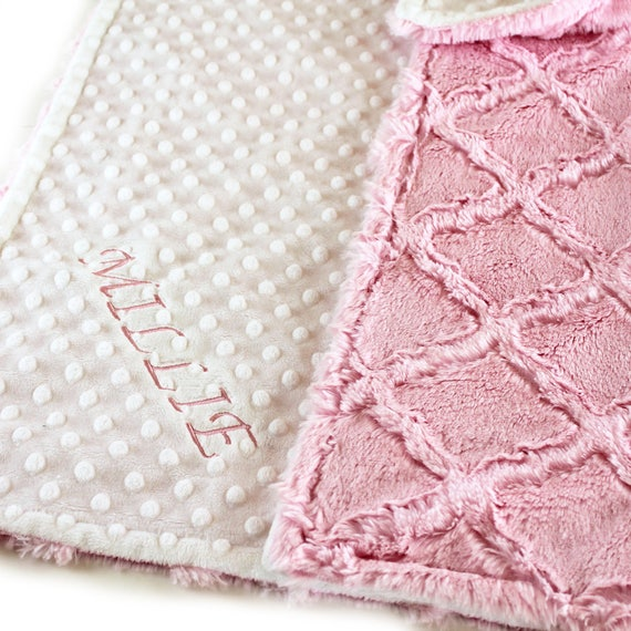 Personalized Baby Blanket, Minky Baby Blanket, Pink White Lattice, Stroller Blanket, Girl Baby Blanket, Name Blanket, Pink Blanket, kids
