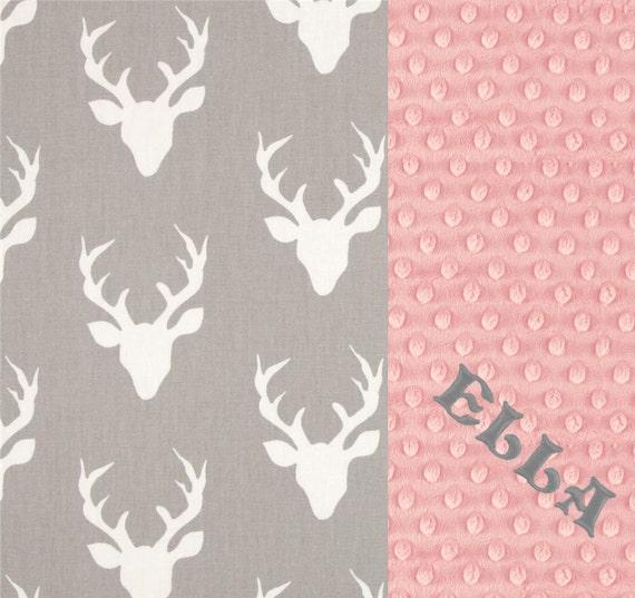Personalized Baby Blanket, Minky Baby Blanket Girl, Monogrammed Blanket, Cotton Gray Pink Deer Blanket, Baby Shower Gift, Name Baby Blanket