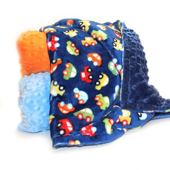 Personalized Baby Blanket, Minky Baby Blanket Baby Boy, Name Baby Blanket, Blue Car Blanket, Kids Minky Blanket Baby Gift, Receiving Blanket