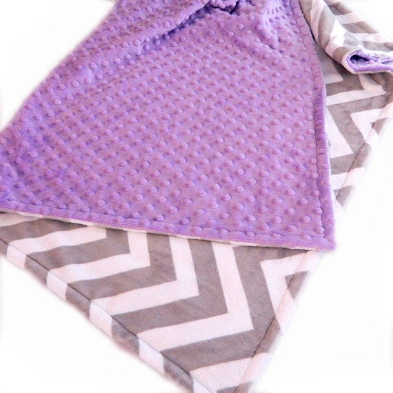 Kids Minky Blanket 48 x 60 Toddler Blanket, Minky Blanket Girl, Lilac Gray Chevron Personalized Blanket, Minky Throw Blanket, Gift For Her