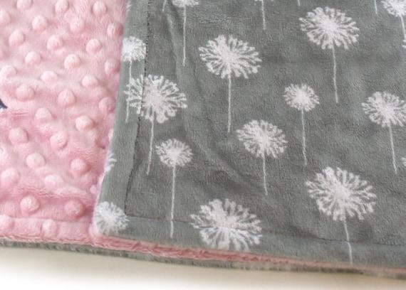 Personalized Baby Blanket Mini Baby Blanket Girl - Baby Lovey, Dandelion Gray Floral Minky Baby Blanket, Minky Burp Cloth, Baby Gift