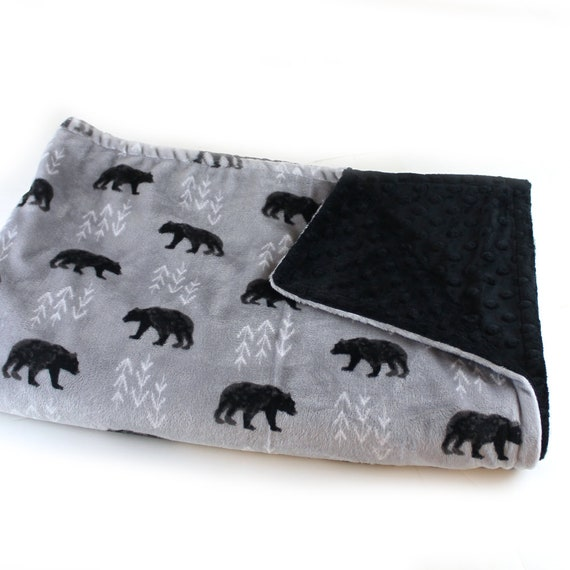 Bear Minky Baby Blanket For Boys, Personalized Baby Blanket, Gray Black Woodland Animal Minky Baby Blanket, Animal Blanket, Name Blanket