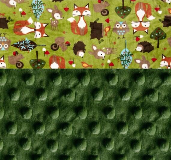 Woodland Blanket, Minky Baby Blanket, Personalized Blanket Fox Baby Blanket, Kids Minky Green Crib Bedding, Animal Baby Blanket, Baby Gift