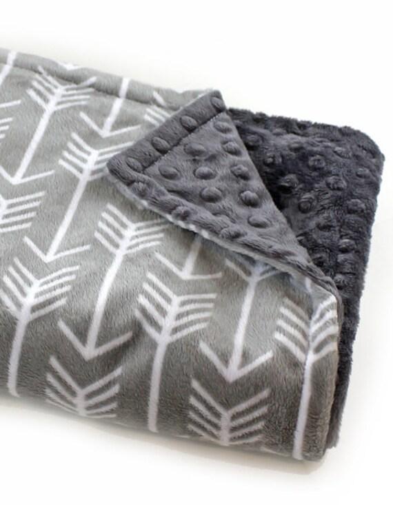 Minky Baby Blanket, Mini Personalized Baby Blanket Boy, Baby Lovey, Charcoal Gray Arrow Blanket, Baby Shower Gift, Personalized Blanket