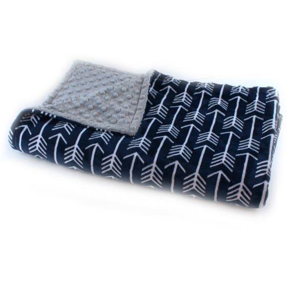 Personalized Baby Blanket, Arrow Minky Baby Blanket Boy, Silver Gray Navy Arrow Baby Blanket, Soft Baby Blanket, Baby Shower Gift