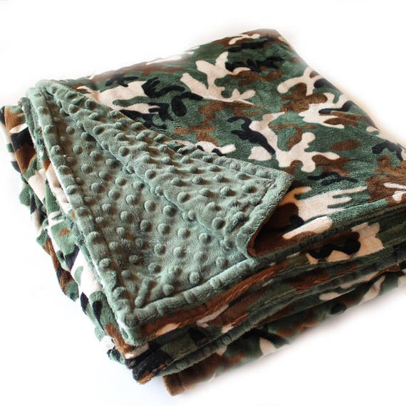 Adult Minky Blanket Green Camo Blanket, Personalized Blanket, Minky Throw blanket, Personalized Gift, Twin Bedding, Kids minky blanket