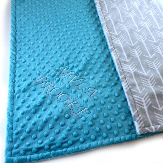 Monogrammed Blanket, Personalized baby blanket, Minky Baby Blanket Boy, Teal Gray Arrow Baby Blanket, Custom Baby Gift, Receiving Blanket