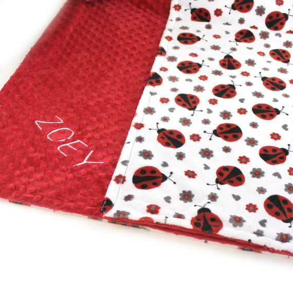 Ladybug Baby Blanket Girl / Crib Blanket  Minky Baby Blanket Personalized Baby Blanket Name baby blanket Baby shower gift Kids minky Blanket
