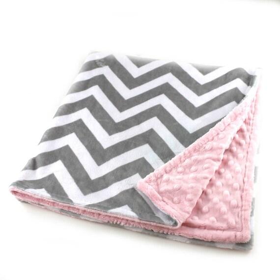 Minky Baby Blanket, 42 x 55 Personalized Baby Blanket, Pink Baby Blanket, Crib Bedding, Gray Chevron Blanket, Kids Minky Blanket