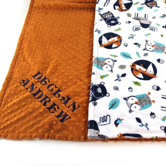 Woodland Minky Blanket, Baby Boy Personalized Baby Blanket, Rust Woodland Nursery, Name Baby Blanket, Baby gift Fox Baby Blanket Baby Gift