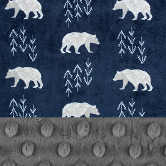 Bear Minky Baby Blanket For Boys, Personalized Baby Blanket, Gray Navy Bear Woodland Baby Blanket, Animal Blanket, Name Blanket