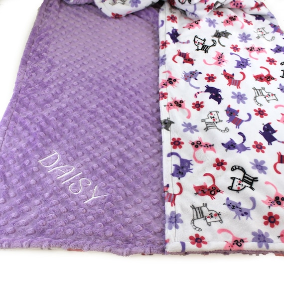 Personalized Baby Blanket, Lilac Cat Minky Baby Blanket Girl / Pink Gray Purple Cats, Receiving Blanket, Baby Gift, Name Blanket Baby Girl