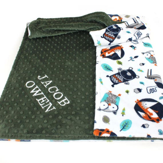 Baby Boy Personalized Baby Blanket, Woodland Nursery, Woodland Minky Blanket, Name Baby Blanket, Baby shower gift Fox Baby Blanket Baby Gift