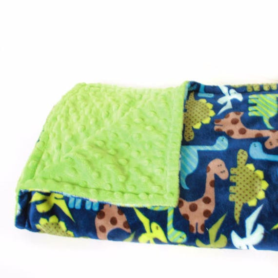 Blue Dinosaur Minky Adult Blanket, Personalized Blanket / Twin Blanket / Green Dinosaur Blanket / Minky Throw Blanket / Blue Dino Blanket