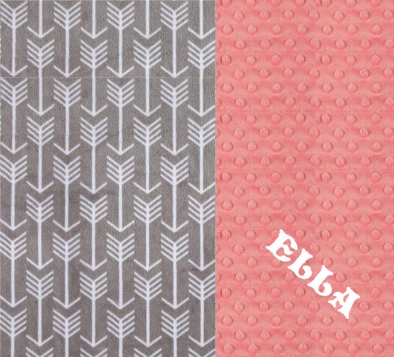 Personalized Baby Girl Blanket, Coral Arrow Minky Baby Blanket Girl, Coral Gray Arrow Baby Blanket, Stroller Blanket, New Baby Gift
